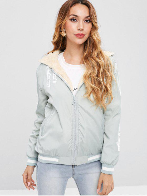 womens Graphic Faux Fur Lined Hooded Jacket - DARK SEA GREEN M