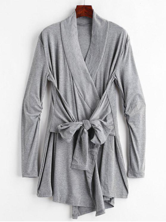 trendy Cinched Tie Front Coat - DARK GRAY M