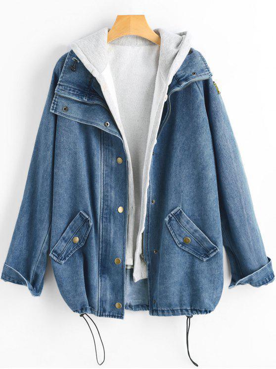 hot Button Up Denim Jacket and Hooded Vest - DENIM DARK BLUE 2XL