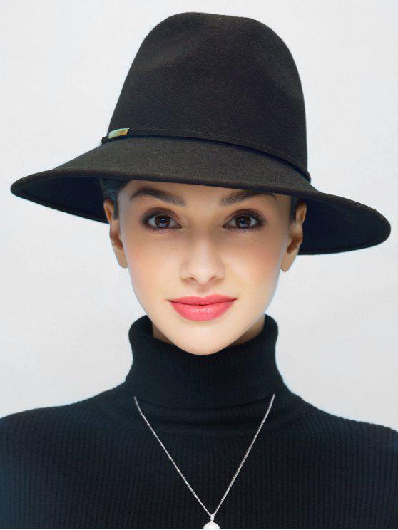 affordable Vintage Wide Brim Fedora Jazz hat - BLACK