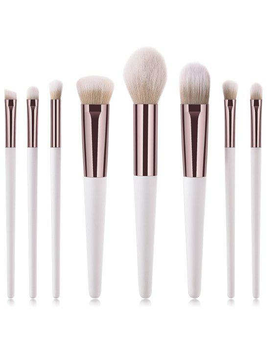 online Cosmetic 8Pcs Portable Ultra Soft Fiber Hair Travel Makeup Brush Suit - NATURAL WHITE