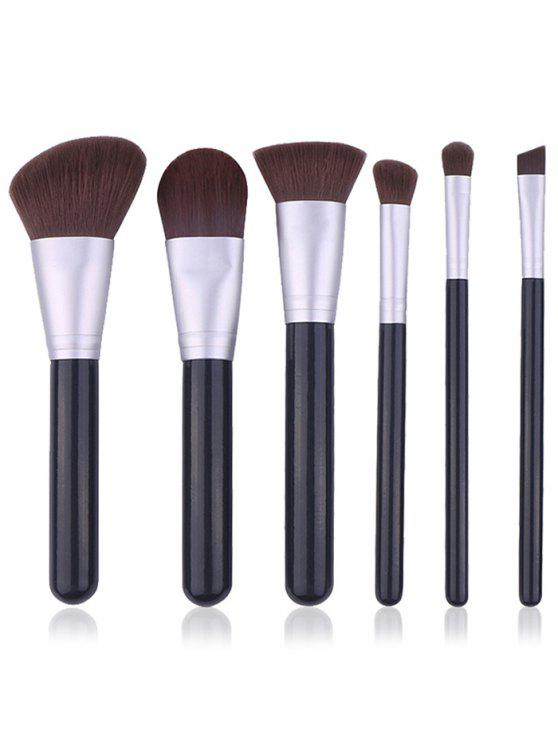 new Portable 6Pcs Wooden Handles Cosmetic Travel Brush Set - BLACK REGULAR