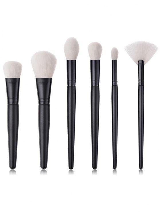 trendy 6Pcs Cosmetic Wooden Handles Blush Eyeshadow Powder Fan Brush Set - BLACK REGULAR