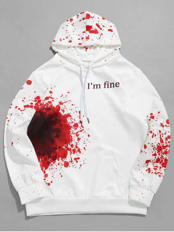 unique Halloween Inspired Spatter Letter Pattern Big Pocket Hoodie - MILK WHITE 2XL