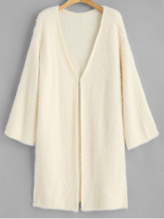hot Slit Fuzzy Open Front Cardigan - WARM WHITE ONE SIZE