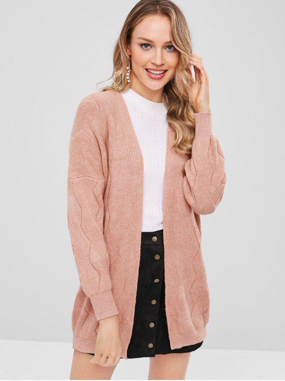 outfits Drop Shoulder Open Front Cardigan - LIPSTICK PINK ONE SIZE