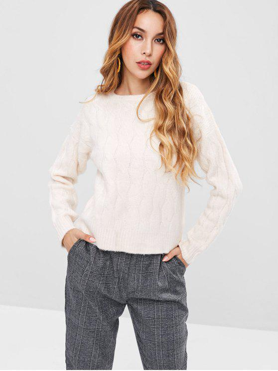 shops Cable Knit Sweater - BEIGE ONE SIZE