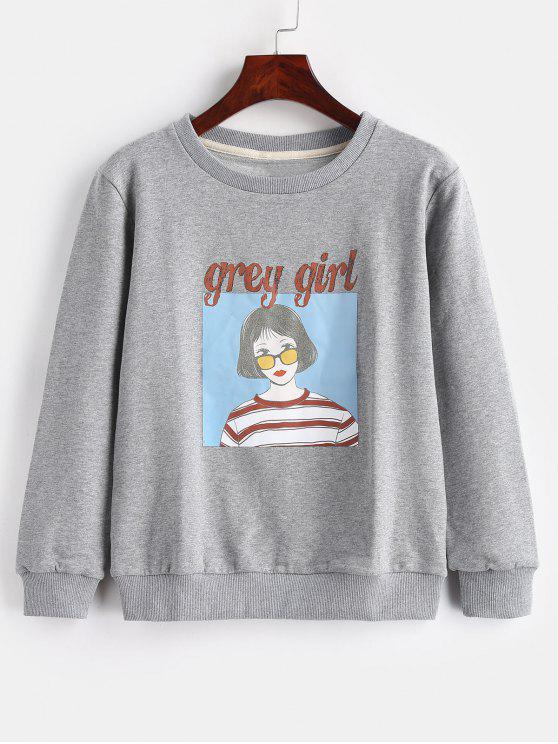 affordable Letters Girl Pattern Pullover Sweatshirt - GRAY S