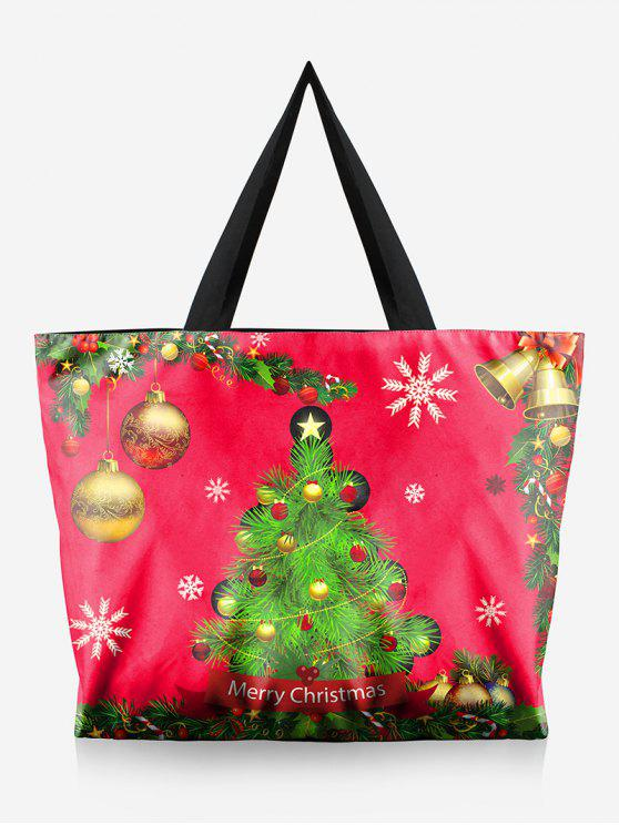 women Tree Print Christmas Handbag - LAVA RED