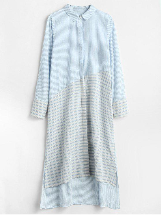 11c91a41482 2019 High Low Midi Striped Shirt Dress In LIGHT BLUE S