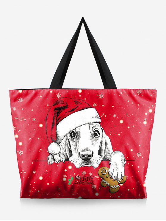 Bolsa de Natal com estampa de árvore - Rosa vermelha