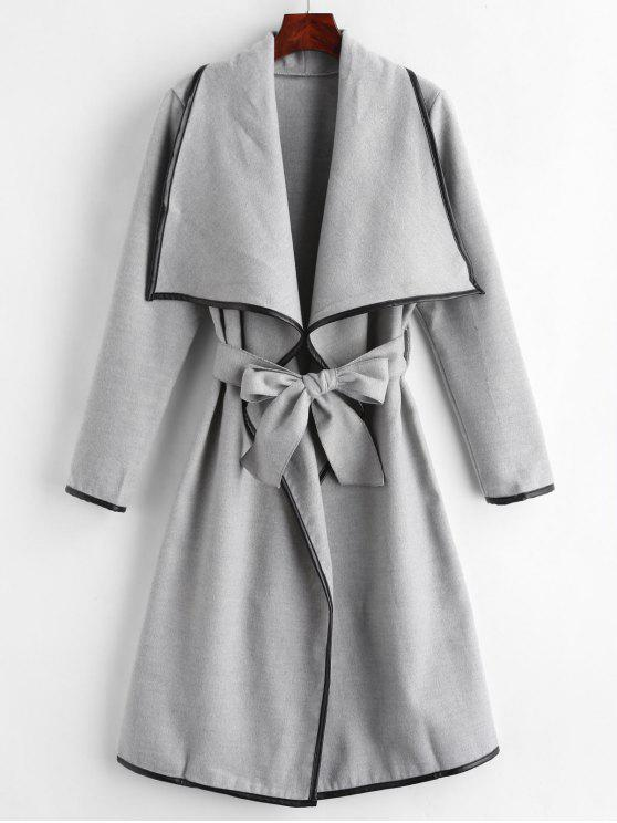 best Contrasting Piping Shawl Collar Wrap Coat - GRAY S