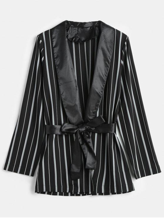 Blazer de túnica listrada gola xale - Preto M