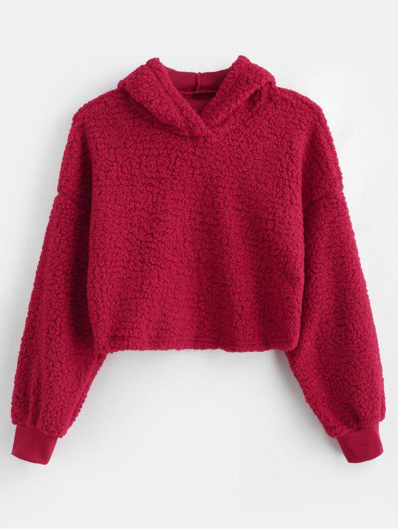 Drop Shoulder Fluffy Boxy sudadera con capucha - Rojo L