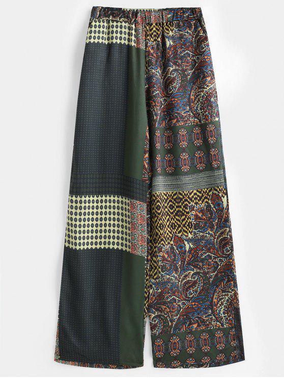 Pantalon large en satin à imprimé patchwork - Multi S