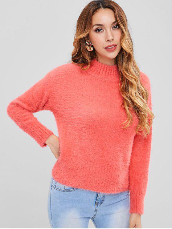 High Neck Drop Schulter Pelz Pullover - Erröten Rot Eine Größe