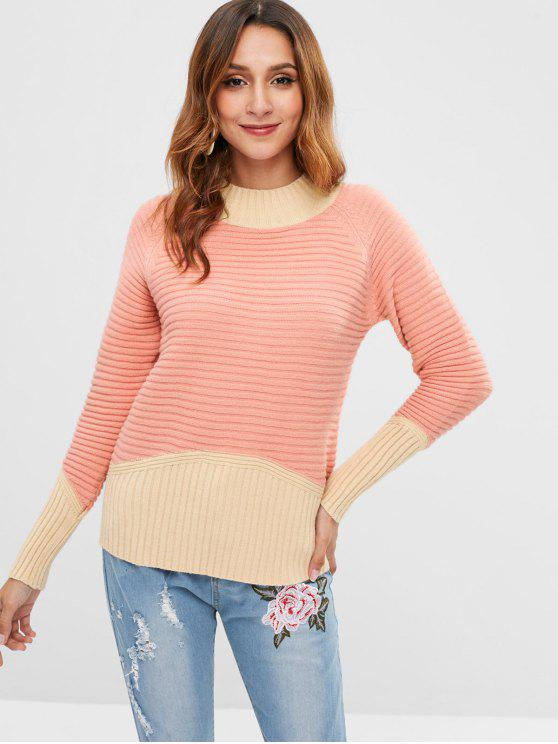 outfit Ribbed Two Tone Color Block Sweater - BLUSH RED ONE SIZE