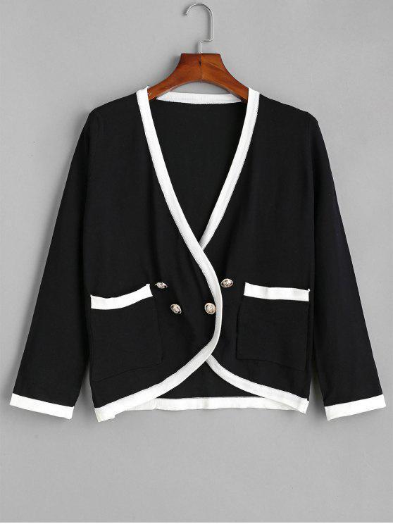 Zweireihiger Cardigan mit Kontraststreifen - Schwarz Eine Größe