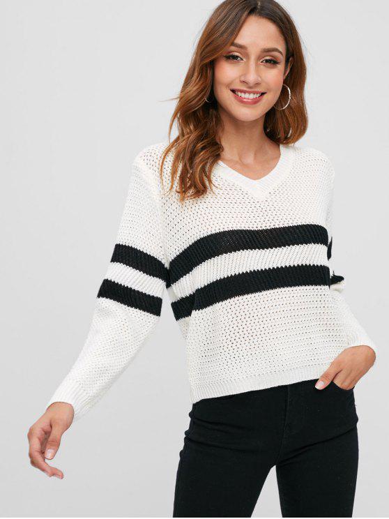 V-Ausschnitt gestreiften durchbrochenen Pullover - Warmweiß Eine Größe