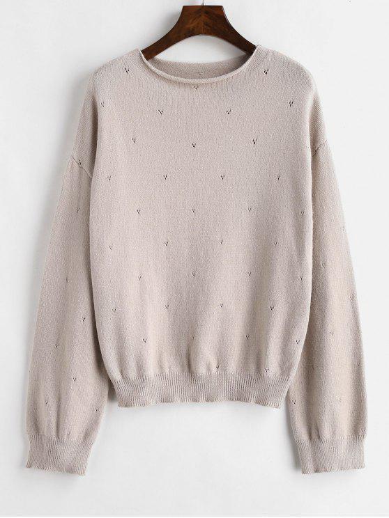 fancy Plain Slash Neck Sweater - SAKURA PINK ONE SIZE