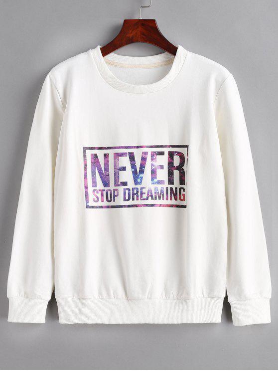 unique Letter Print Pullover Sweatshirt - WHITE L