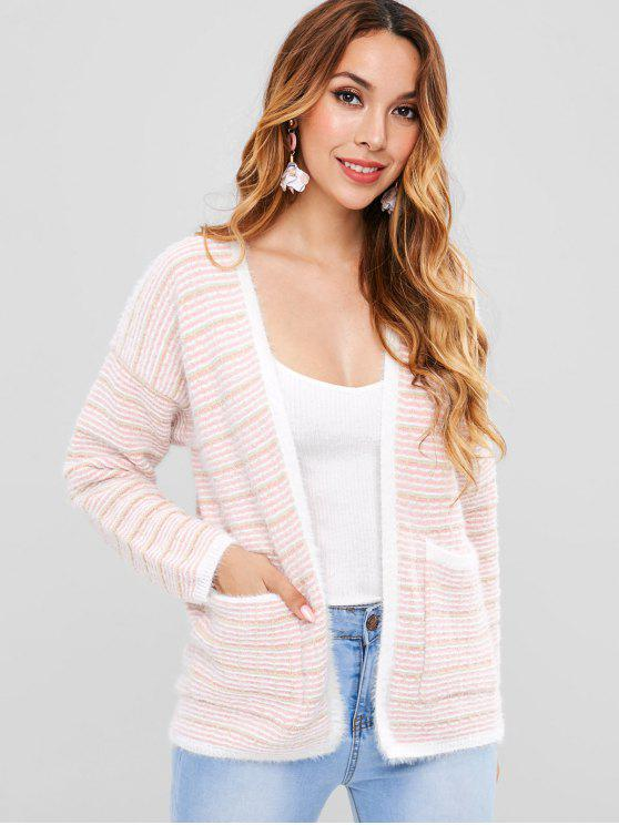 womens Striped Collarless Pocket Cardigan - PINK ONE SIZE