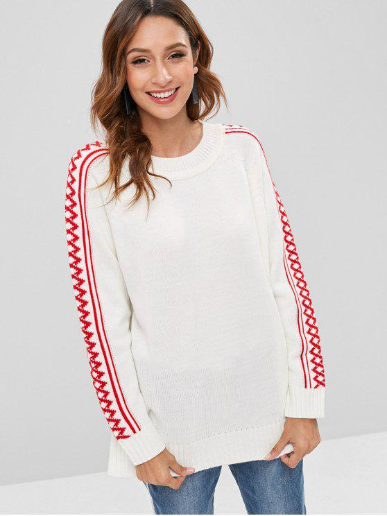 women Raglan Sleeve Geometric Sweater - WHITE ONE SIZE
