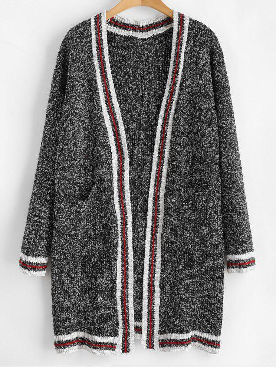 outfit Striped Heathered Open Front Cardigan - CARBON GRAY ONE SIZE