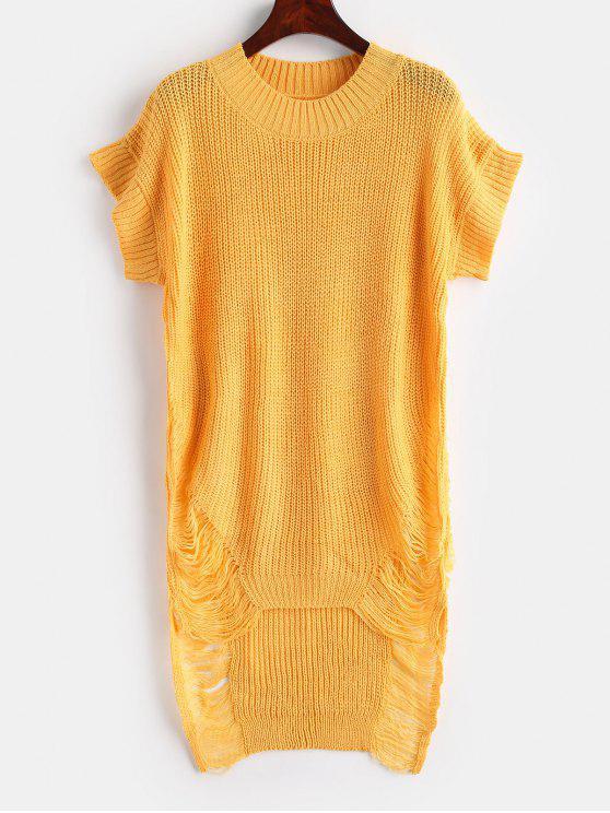 Distressed High Low Tunika Pullover - Helles Gelb Eine Größe