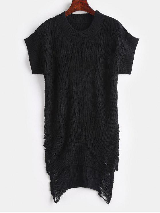 Distressed High Low Tunika Pullover - Schwarz Eine Größe