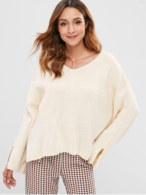 V Neck Drop Shoulder Slit Sweater   Beige by Zaful