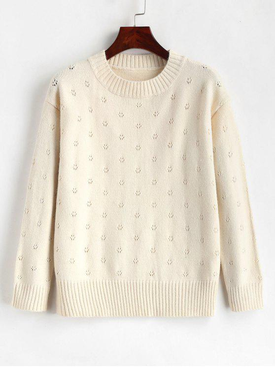 lady Eyelet Plain Sweater - WARM WHITE ONE SIZE
