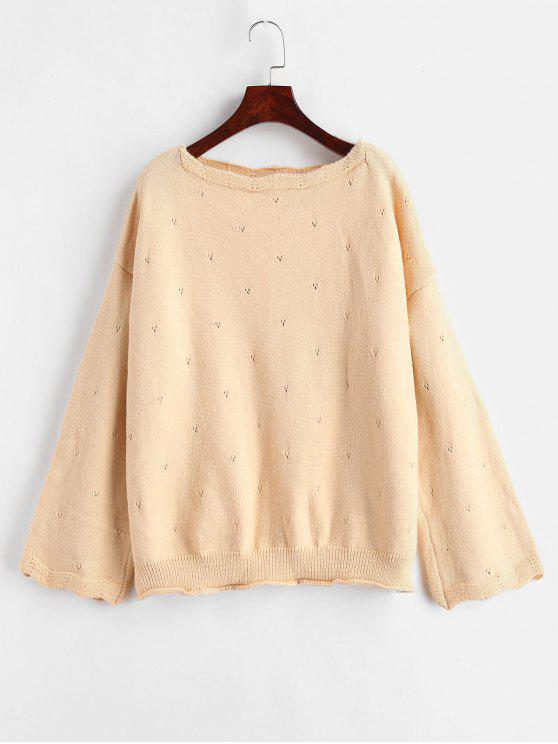 latest Loose Scalloped Sweater - PEACH ONE SIZE