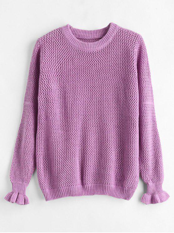Durchbrochener Pullover mit Rundhalsausschnitt - Tyrianisches Lila Eine Größe