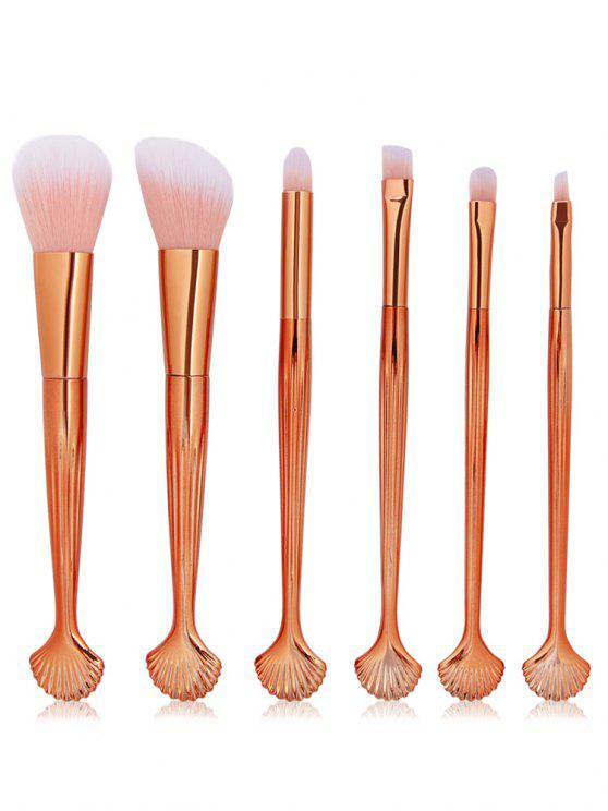 women's Cosmetic Shell Shaped Blush Eyeshadow Eyebrow Travel Makeup Brush Set - MULTI-A
