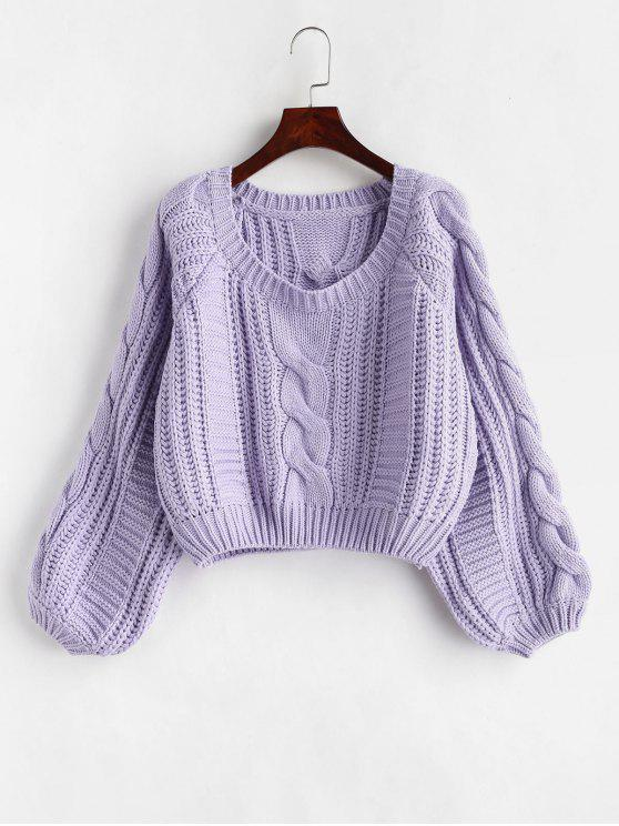 ladies Chunky Cropped Cable Knit Sweater - MAUVE ONE SIZE