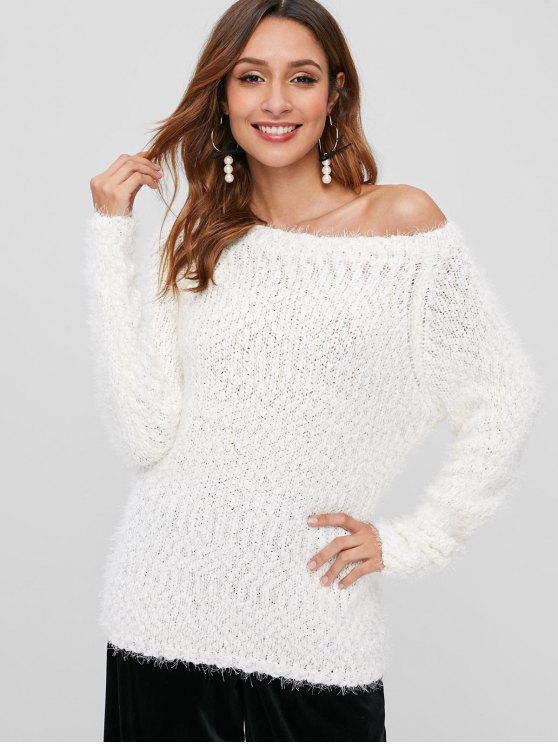latest Fuzzy Raglan Sleeve Chunky Sweater - WHITE ONE SIZE
