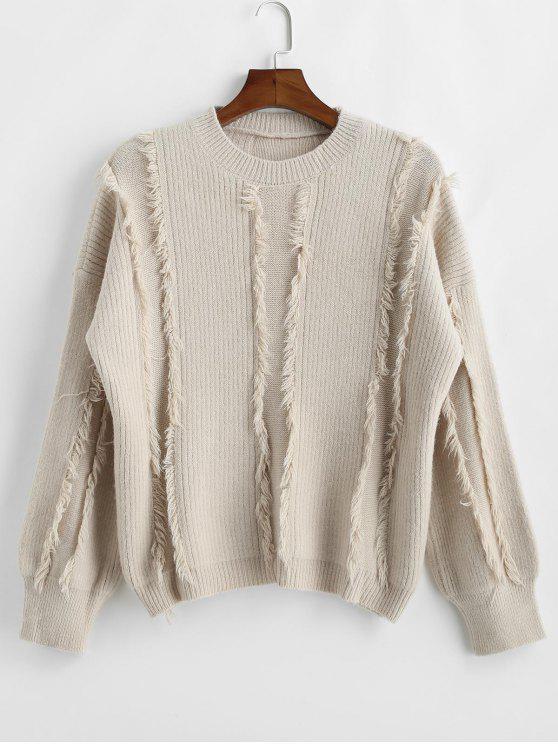 Ausgefranster Detail-Oversize-Pullover - Kristall-Creme Eine Größe