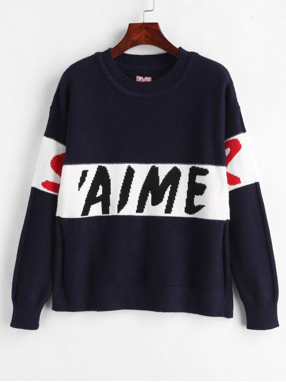 women Letter Drop Shoulder Sweater - CADETBLUE ONE SIZE