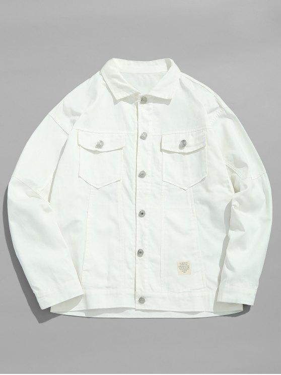 women's Solid Thin Denim Jacket - WHITE XL