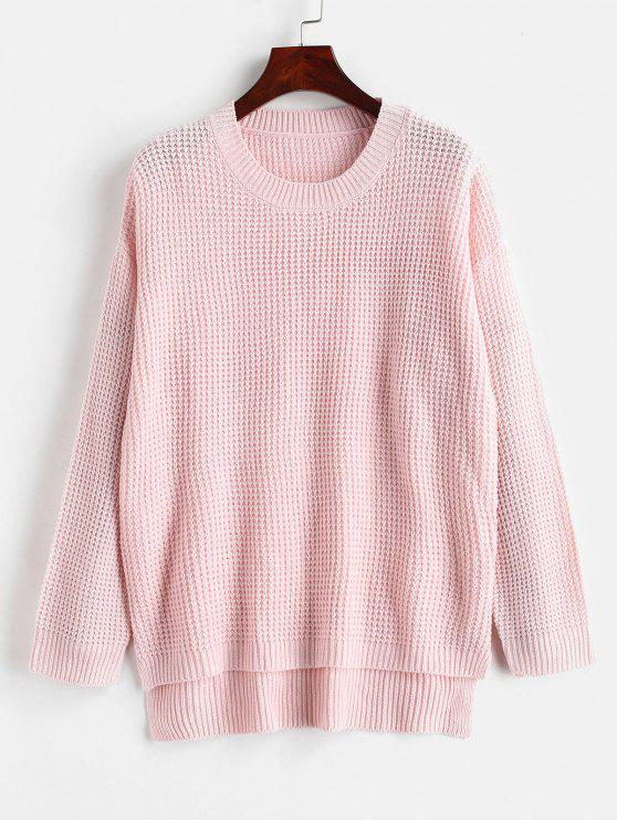 ladies Slit Loose High Low Sweater - LIGHT PINK ONE SIZE