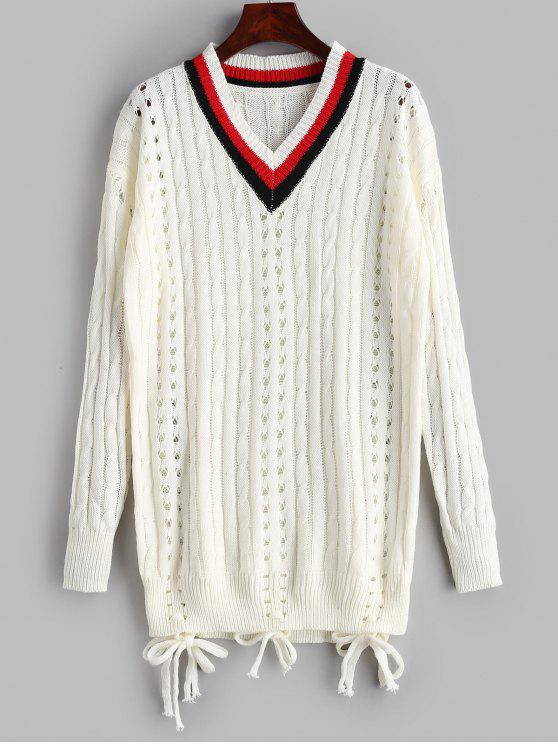 best Openwork Cable Knit Tunic Sweater - WHITE ONE SIZE