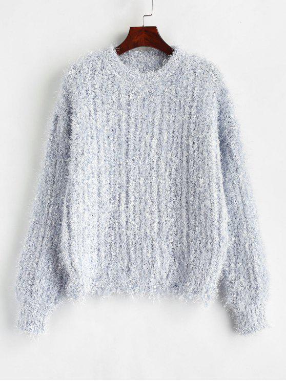 shop Raw Hem Textured Sweater - LIGHT BLUE ONE SIZE