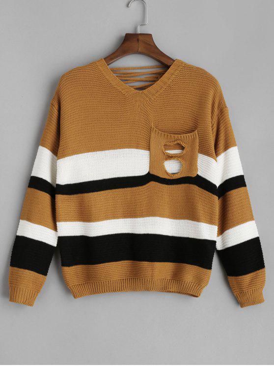 Pocket Schnür-Pullover mit V-Ausschnitt - Biene Gelb Eine Größe