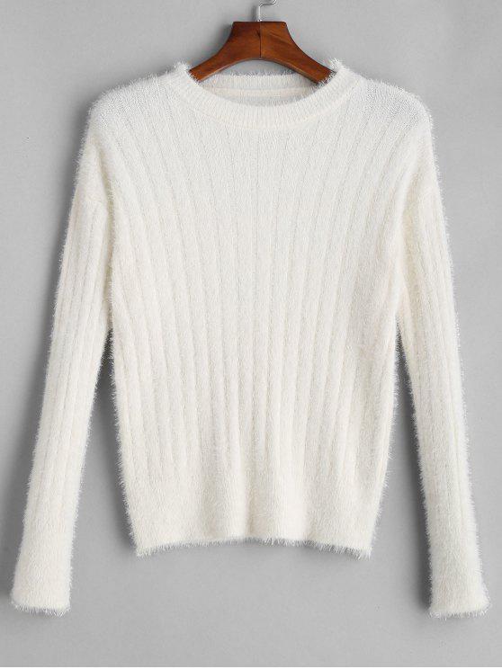 Fuzzy Drop Schulterpulli - Weiß Eine Größe