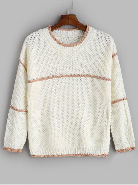 Kontrastbund Crewneck Sweater - Weiß Eine Größe