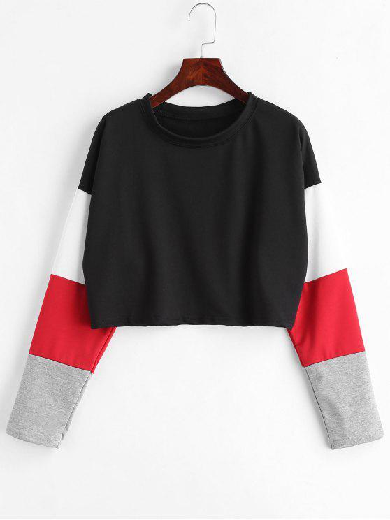 Farbblock Drop Schulter Crop T-Shirt - Schwarz S