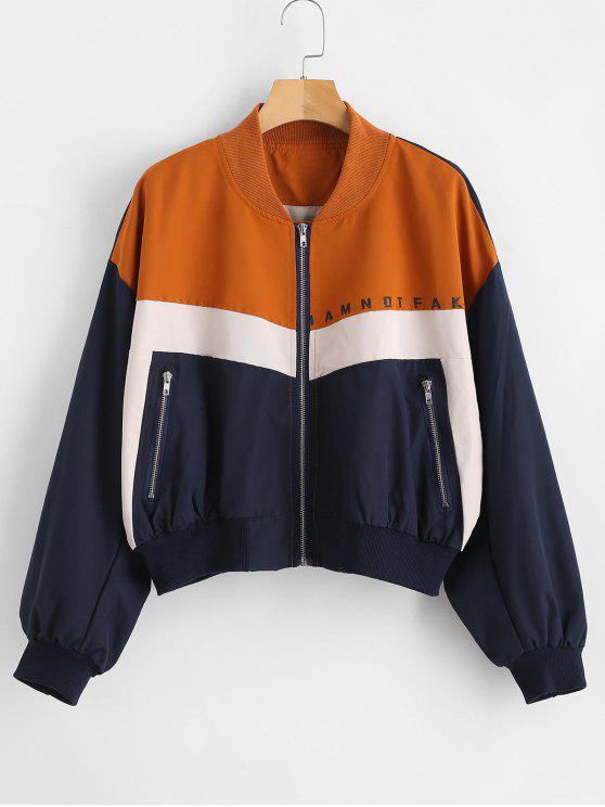 lady Color Block Zip Up Graphic Jacket - MULTI L