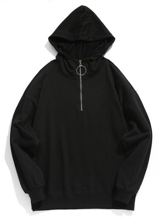 buy Solid Half Zip Hoodie - BLACK M