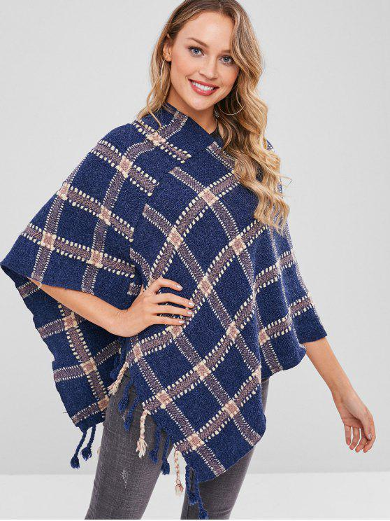 affordable Asymmetric Plaid Poncho Fringed Sweater - MULTI ONE SIZE